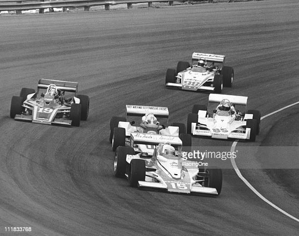 Pancho Carter leads Roger McCluskey Spike Gehlhausen Larry ÒBoomBoomÓ Cannon and Gary Bettenhausen during the Bobby Ball 150 USAC Indy Car race at...