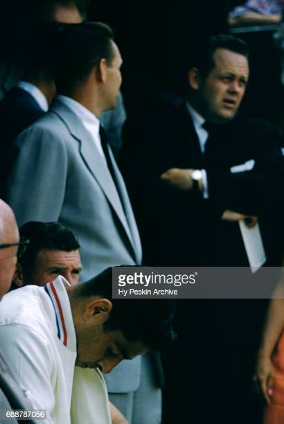 Pancho Gonzales of the United States sits on the sidelines during a tournament arranged by Kramer circa 1957 in Los Angeles California