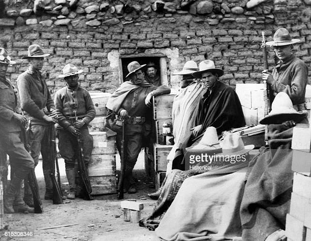 Pancho Villa's bandits who raided Columbus New Mexico caught by American soldiers in the mountains of Mexico and held in camp near Namiquipa April 27...