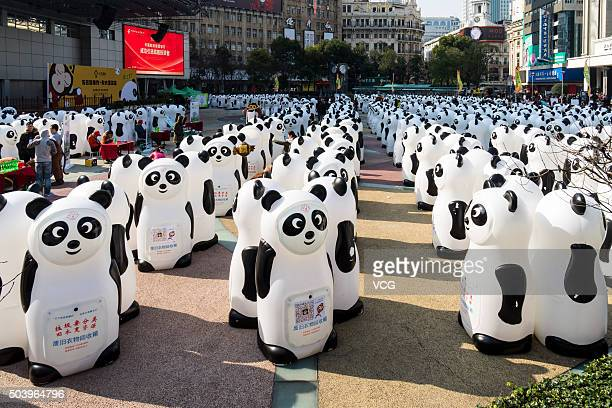 Panda bins stand at Century Square near Nanjing Road to promote garbage classification on January 8, 2016 in Shanghai, China. The activity was held...