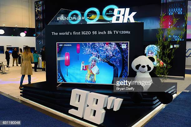 Panda Electronics 98' 8K television is displayed is displayed at CES 2017 at the Las Vegas Convention Center on January 7 2017 in Las Vegas Nevada...