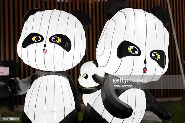 Panda light display at the Chinese New Year Lantern Festival at Tumbalong Park on February 12 2016 in Sydney Australia The lighting of lanterns is a...