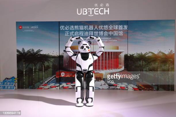 Panda robot named 'Youyou' is unveiled at the booth of UBTech Robotics Inc. During 2021 World Robot Conference at Beijing Etrong International...