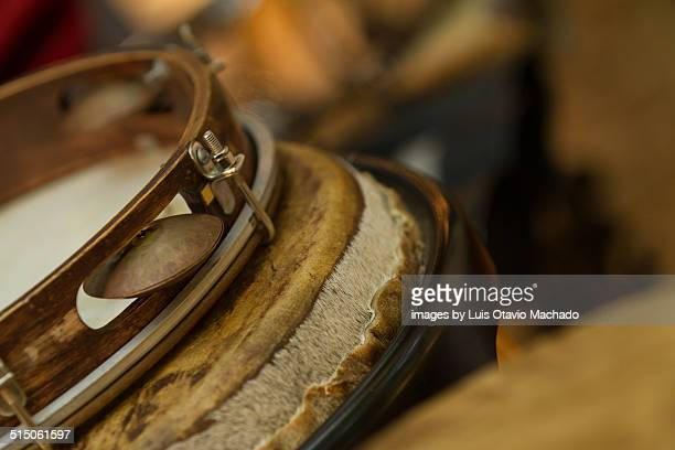 pandeiro and other leather percussion instruments - pandeiro stock photos and pictures