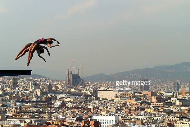 Pandelela Rinong Pamg and Leong Mun Yee of Malaysia compete in the Women's 10m Springboard Diving final on day three of the 15th FINA World...