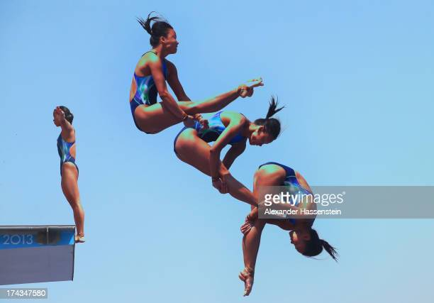Pandelela Rinong Pamg of Malaysia competes in the Women's 10m Platform Diving preliminary round on day five of the 15th FINA World Championships at...
