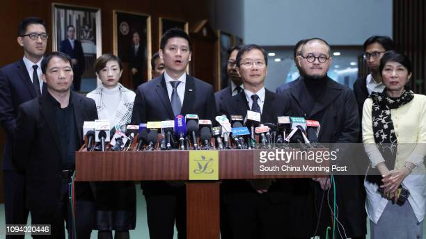 Lam Cheukting Wu Chiwai Tanya Chan SUkchong Jeremy Tam Manho Kwok Kaki Shiu Kachun and Claudia Mo Manching meet the media outside the Legco Chamber...