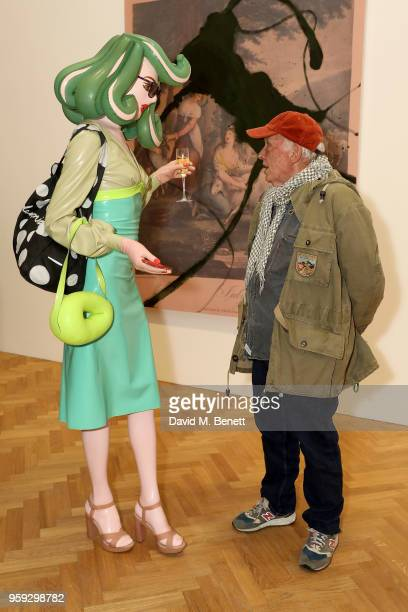 Pandemonia and David Bailey attend Pace Gallery Celebrates Julian Schnabel at 6 Burlington Gardens on May 16 2018 in London England