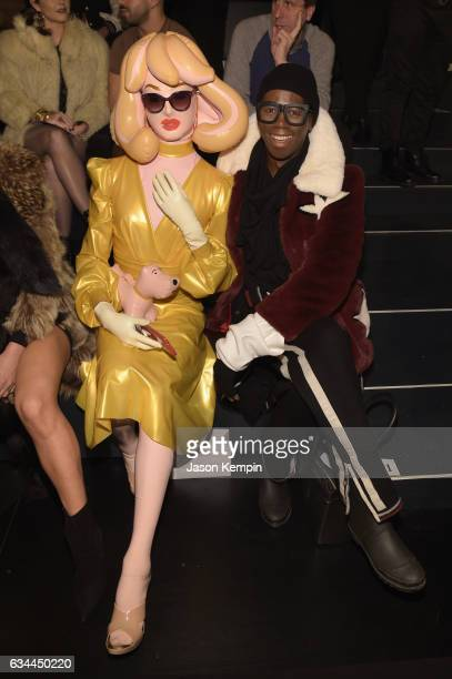 Pandemonia the Blow Up Doll and Miss J attend the Michael Costello fashion show during New York Fashion Week: The Shows at Gallery 1, Skylight...