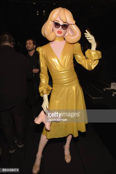 Pandemonia the Blow Up Doll attends the Michael Costello fashion show during New York Fashion Week: The Shows at Gallery 1, Skylight Clarkson Sq on...