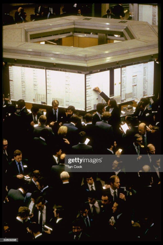 Pandemonium at London's Stock Exchange during drop.