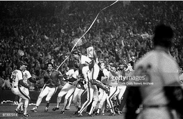 Pandemonium like the New York Mets reigns at Shea Stadium after the final out of the 1986 World Series Mets defeated the Red Sox 85 in Game Seven of...