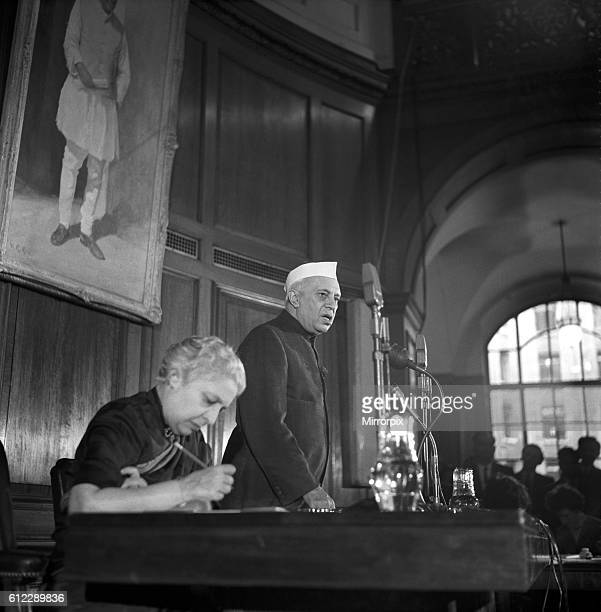 Pandit Jawaharlal Nehru at his press conference held at India House during his visit to the United Kingdom March 1961