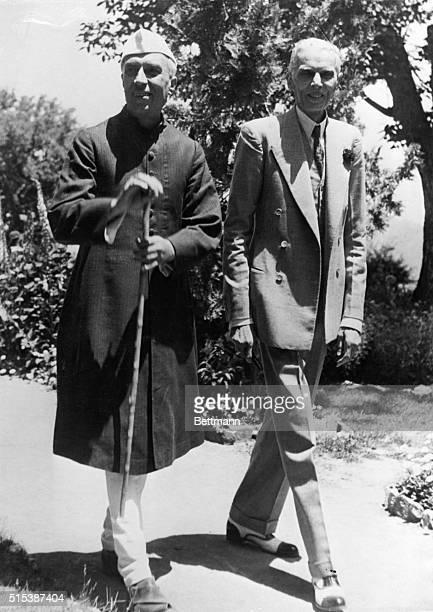 Pandit Jawaharlal Nehru leader Congress Party meets with Mohammed Ali Jinnah leader of the Muslim League at Jinnah's home