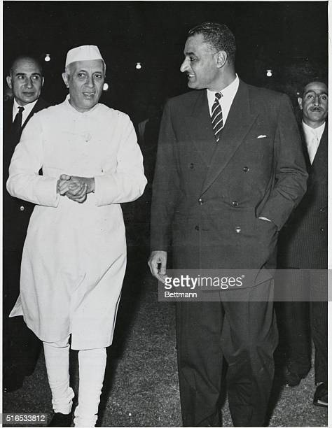 Pandit Nehru , Prime Minister of India shown with Colonel Nassar, the Egyptian Prime Minister during Nassar's visit to New Deli, on his way to...
