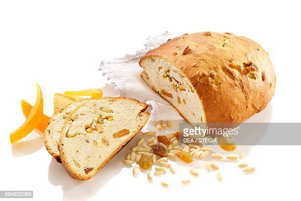 Pandolce with raisins pine nuts and candied peel Genoa Italy