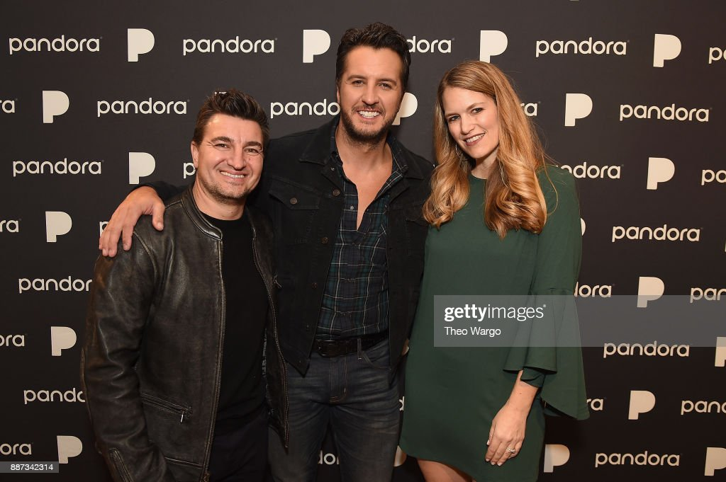 Pandora Artist Marketing and Industry Relations Vice President Jeff Zuchowski, Luke Bryan and Beville pose backstage at Pandora Up Close With Luke Bryan on December 6, 2017 in New York City.