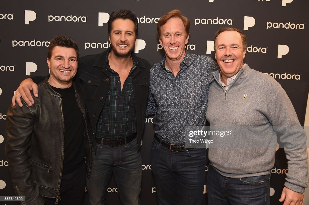 Pandora Artist Marketing and Industry Relations Vice President Jeff Zuchowski, Luke Bryan, Pandora CEO Roger Lynch and Pandora CRO John Trimble pose backstage at Pandora Up Close With Luke Bryan on December 6, 2017 in New York City.