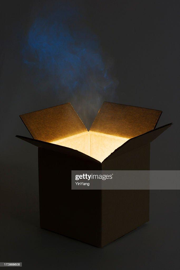 Pandora Box Open with Mysterious Glowing Magic Gift : Stock Photo