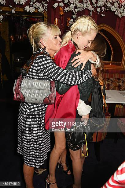 Pandora Delevingne Poppy Delevingne and Cara Delevingne attend the Love Magazine miu miu London Fashion Week party at Loulou's on September 21 2015...