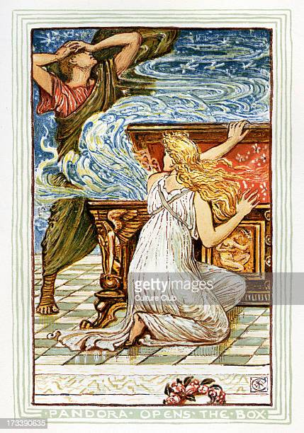 Pandora opens the box and a thunder cloud falls on Epimetheus Retelling of Greek Myths by Nathaniel Hawthorne Illustrations by Walter Crane 1845 1915