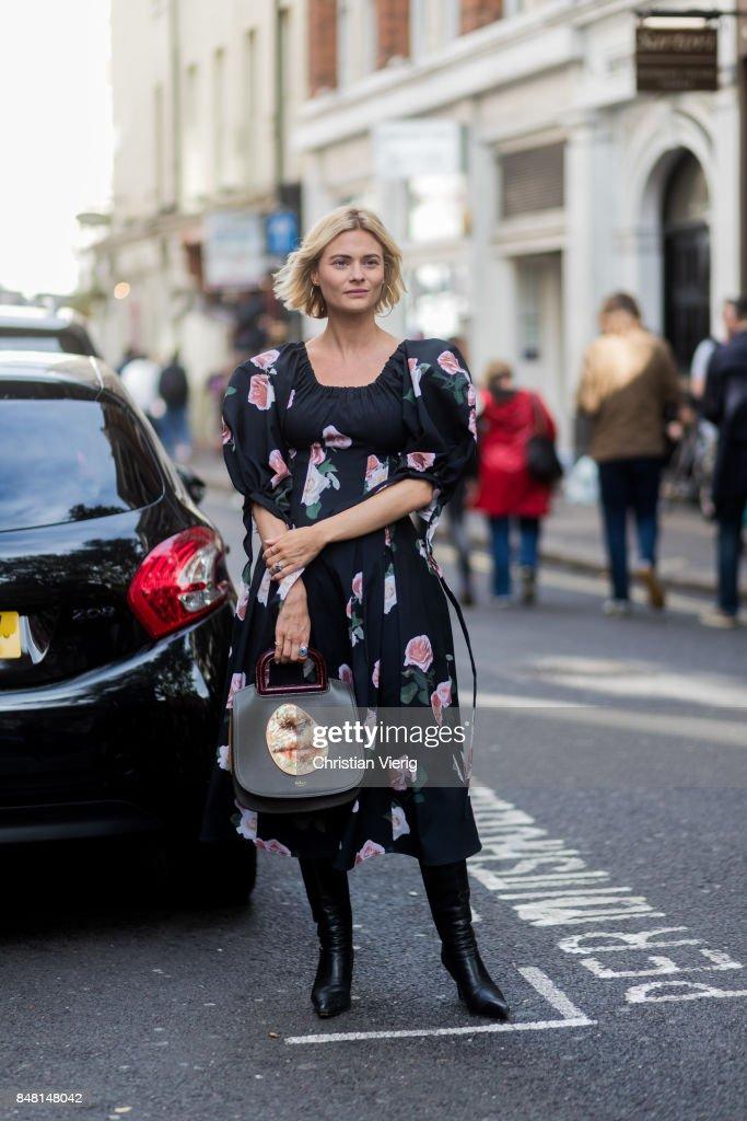 Pandora Skies wearing dress outside House of Holland during London Fashion Week September 2017 on September 16, 2017 in London, England.