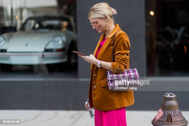 Pandora Skies wearing velevet jacket seen in the streets of Manhattan outside Phillip Lim during New York Fashion Week on September 11 2017 in New...