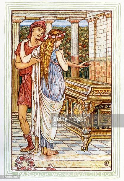 Pandora standing next to Epimetheus wonders at the box Retelling of Greek Myths by Nathaniel Hawthorne Illustrations by Walter Crane 1845 1915