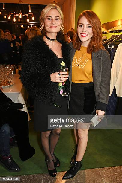 Pandora Sykes and Angela Scanlon attend the Bella Freud store launch in Marylebone on December 9 2015 in London England
