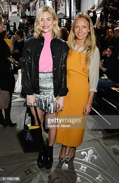 Pandora Sykes and Martha Ward attend the Mulberry LFW Autumn/Winter 2016 Show at The Guildhall on February 21 2016 in London England
