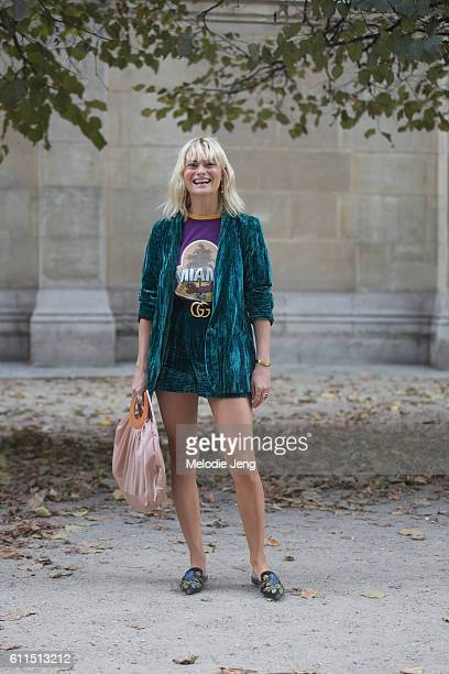 Pandora Sykes at the Paco Rabanne show on September 29 2016 in Paris France