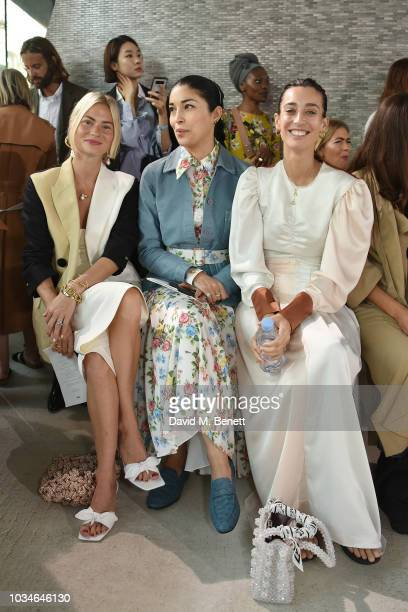 Pandora Sykes Caroline Issa and Laura Jackson attend the Rejina Pyo front row during London Fashion Week September 2018 at Centrepoint Tottenham...