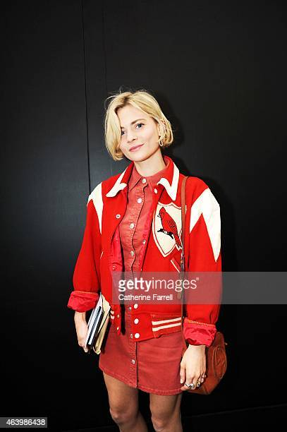 Pandora Sykes Fashion Editor Style Magazine and The Sunday Times Pandora Sykes wearing a Beyond Retro vintage footballers jacket dress by Alexa Chung...