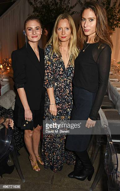 Pandora Sykes Martha Ward and Jemima Jones attend a candlelit dinner for VINCE at Clifton Nurseries on November 11 2015 in London England
