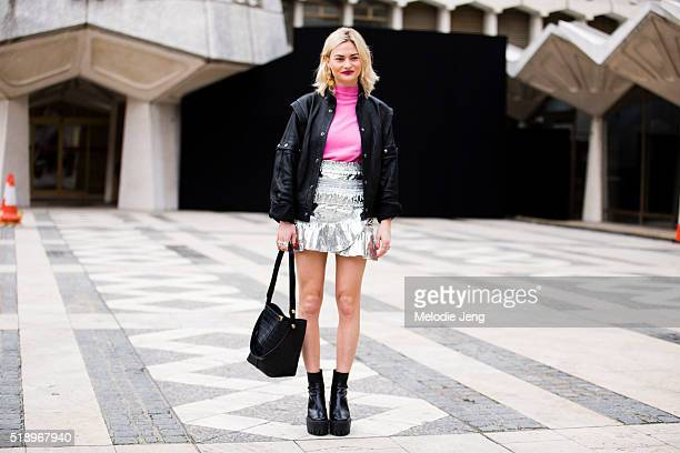Pandora Sykes The Sunday Times Style Fashion Features Editor wears Christie Nicolaides earrings and a personalized Faith Connexion leather jacket...