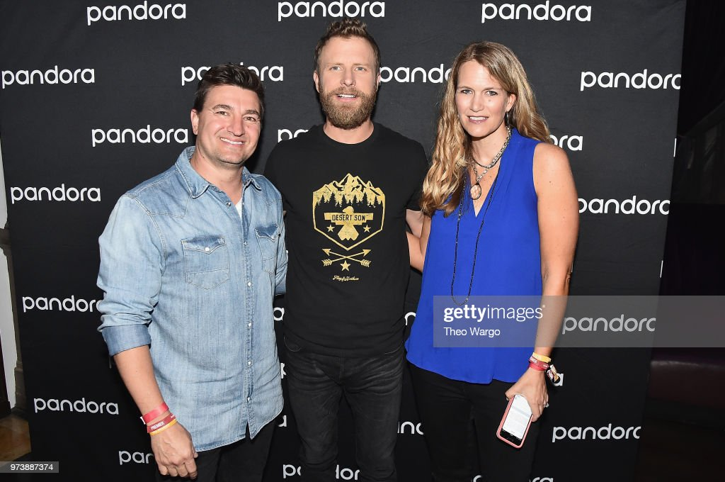 Pandora VP, Industry Relations and Artist Marketing Jeff Zuchowski, Dierks Bentley and Pandora Industry Relations Director Nashville Beville Dunkerley pose backstage at Pandora Up Close With Dierks Bentley Sponsored By Southwest on June 13, 2018 in New York City.