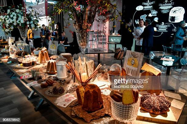 Pandoro and panettone are presented at the pastry space during the 39th International trade Show of Artisan Gelato , Pastry, Bakery and Coffe World...