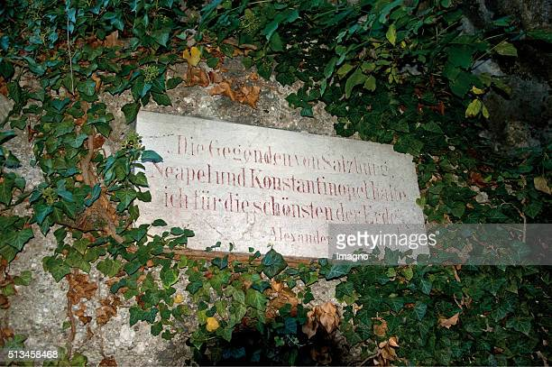 Panel at the HumboldtTerrace with a quotation of Alexander von Humboldt By Gerhard Trumler