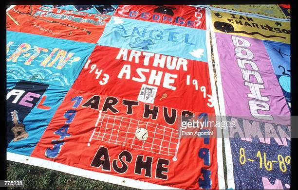 A panel dedicated to Arthur Ashe on the National AIDS Memorial Quilt is on display on the Mall October 12 1996 in Washington DC The AIDS Memorial...