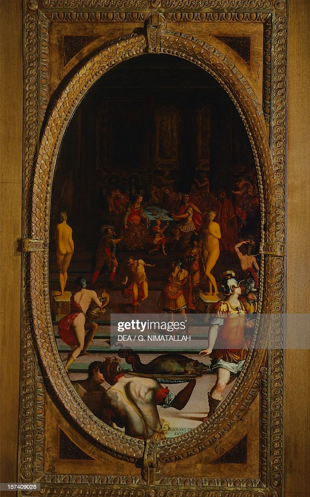 Panel depicting Ring of Polycrates, King of Samos : News Photo