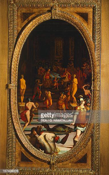 Panel depicting the Ring of Polycrates King of Samos by Giovanni Fedini Studiolo of Francesco I Palazzo Vecchio Florence Italy 16th century