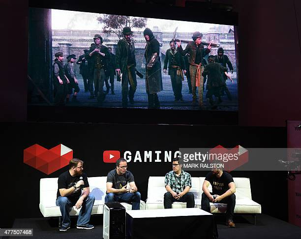 A panel discusses YouTube's venture into game streaming called 'YouTube Gaming' on the second day of the Electronic Entertainment Expo known as E3 at...