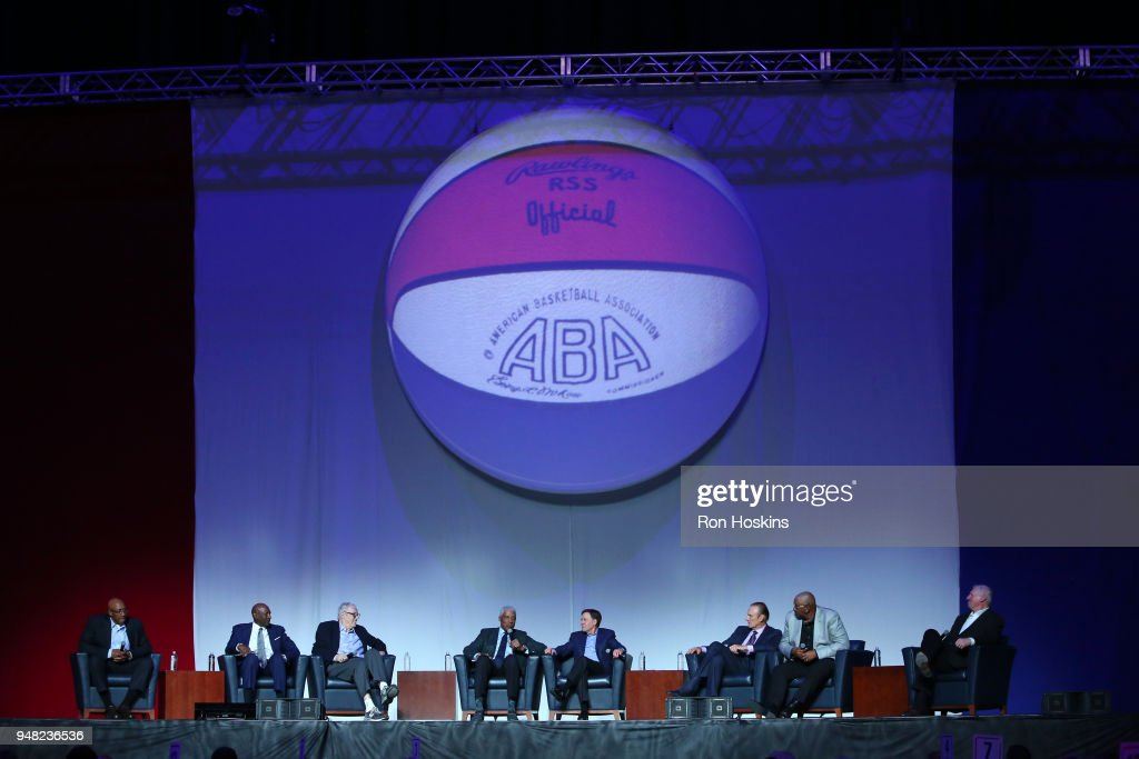 A panel discussion during the ABA 50th Reunion on April 7, 2018 at the Bankers Life Fieldhouse in Indianapolis, Indiana.