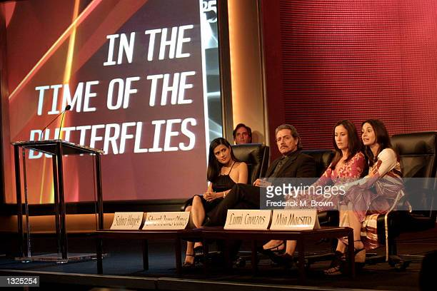 Panel discussion Salma Hayek Edward James Olmos Lumi Cavazos and Mia Maestro about the new film In the Time of the Butterflies at the National Cable...