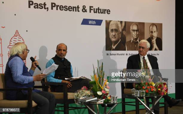 Congress leaders Salman Khurshid during panel discussion with Sanjay Jha and former BJP advisor Sudheendra Kulkarni on 'India PastPresent Future' at...