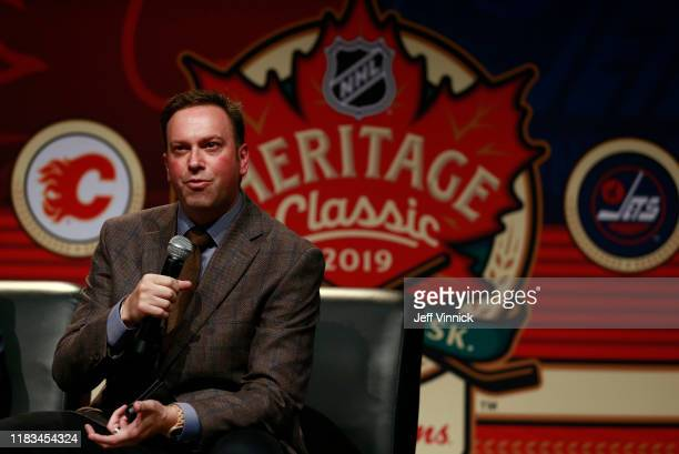 Panel host Elliotte Friedman speaks onstage at the Legacy Luncheon as part of the 2019 Tim Hortons NHL Heritage Classic at the International Trade...