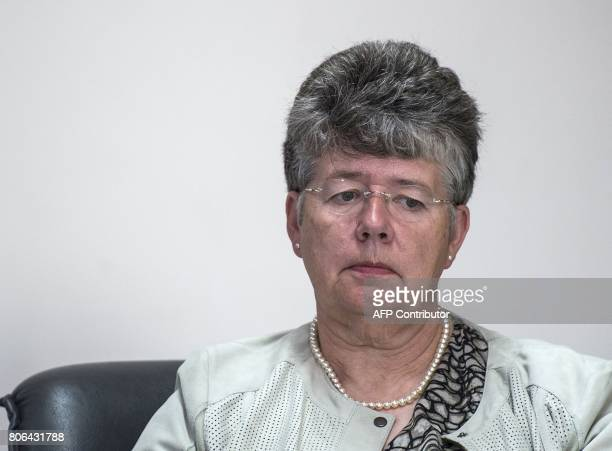 Panel member Alyson Leslie is pictured during a press conference after the publication of the final report of the Independent Jersey Care Inquiry...