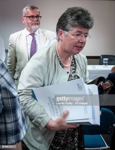 Panel members Alyson Leslie and Professor Sandy Cameron depart following a press conference after the publication of the final report of the...