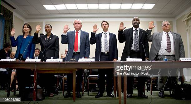 Panel members are sworn at a House oversight hearing on the NTSB findings of the Metro area transportation authority crash and safety record in...