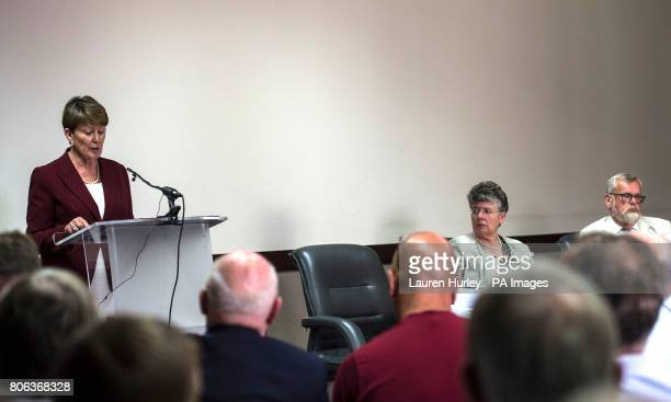 Panel members Frances Oldham QC Alyson Leslie and Professor Sandy Cameron CBE during a press conference after the publication of the final report of...